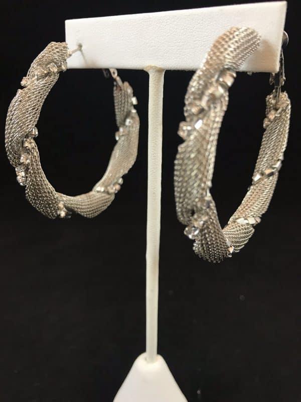 Hoop Earrings W/ Crystal Stones