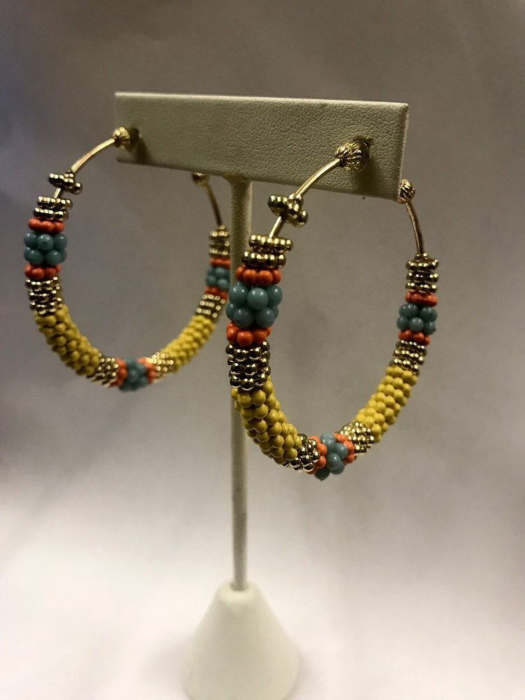 Beaded Metal Hoop Earrings