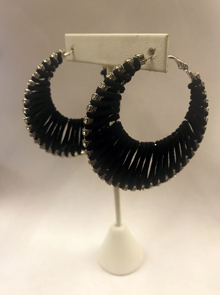 Suede Hoop Earrings W/ Stones