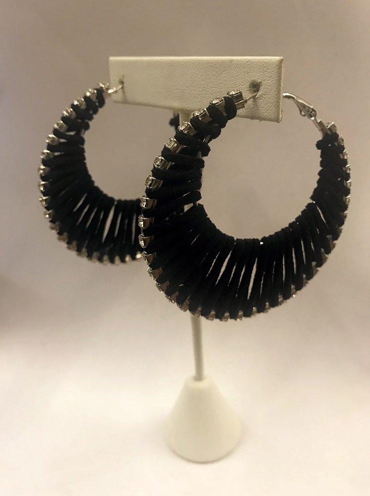 Suede Hoop Earrings W/ Stones