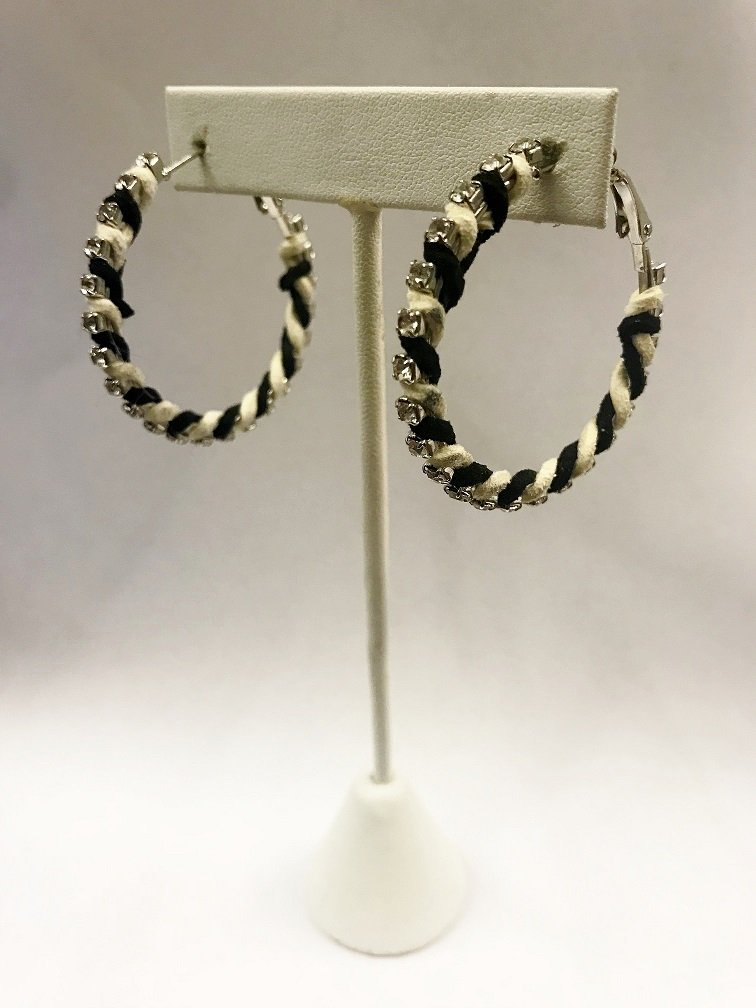 Striped Suede Hoop Earrings W/ Stones