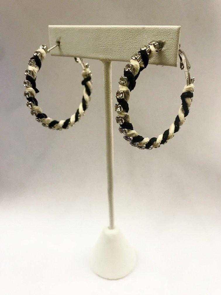 Striped Suede Hoop Earrings W/ Stones